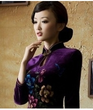 巧之韵  紫罗兰 新款丝绒手绘中长袖短款改良复古旗袍
