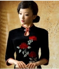 巧之韵  花向晚 长袖复古刺绣丝绒短款旗袍改良秋装