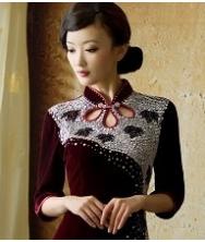 巧之韵 枫林晚 华美丝绒长款中长袖改良复古旗袍