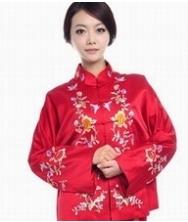 巧之韵 蜀绣真丝长袖唐装 纯手工绣花双面桑蚕丝时尚修身红色婚礼服