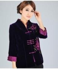 巧之韵 真丝绒唐装 手绘丝绒唐装 时尚修身高端唐装礼服