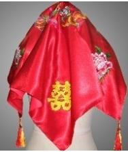 巧之韵 红色珠子流苏婚庆用品凤冠霞帔新娘红盖头喜帕嫁妆配件龙凤