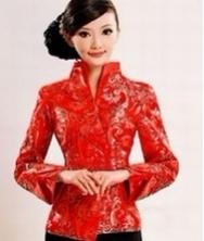巧之韵新年女士唐装(红色) 中式外套上衣 改良唐装女士秋冬装 民族风女装