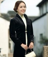 巧之韵 旗袍披肩 旗袍外搭 韩国真丝弹力绒长袖长款外套