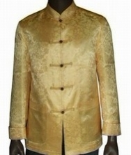 巧之韵金色长袖唐装 白色满地龙唐装 尊贵经典真丝织锦金色唐装 男士唐装