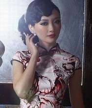 巧之韵琉璃酒红 橙色 贡缎时尚改良复古旗袍裙
