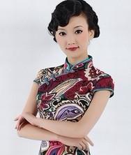 巧之韵 花姿绰约 时尚改良复古贡缎旗袍裙