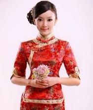 织锦新娘装 红色敬酒服 新娘结婚长袖礼服 巧之韵旗袍套装
