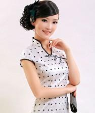 巧之韵 初展颜 复古波点 时尚气质改良真丝旗袍