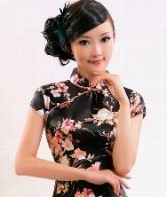巧之韵 繁花汇 日本软缎 新款夏装时尚旗袍裙 改良短款旗袍