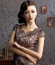 巧之韵 蕾丝迷情 新款夏季短款旗袍裙 时尚改良夏装连衣裙
