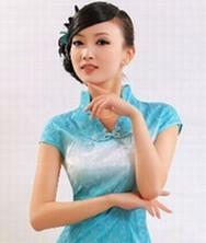 巧之韵 眉收粉黛 订珠网纱裙摆夏装复古旗袍裙 气质修身裙(孔雀蓝)