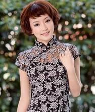 巧之韵 浅墨渡 两件套蕾丝复古改良旗袍 新款时尚夏装(黑色,白色)