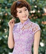 巧之韵浅墨渡 两件套蕾丝复古改良旗袍 新款时尚夏装(湖蓝色,紫色,紫粉色)