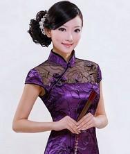 巧之韵 梦蝶双色 时尚夏装旗袍裙 改良蕾丝短款复古旗袍