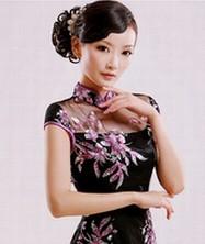 巧之韵 改良复古旗袍  华丽时尚月牙袖进口钉珠亮片旗袍