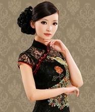巧之韵 气质蕾丝夏装 复古刺绣凤 黑色夏裙两件套