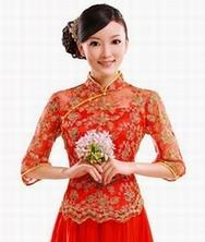 巧之韵超大百褶裙中长袖长款礼服 结婚旗袍敬酒服 新款复古新娘装