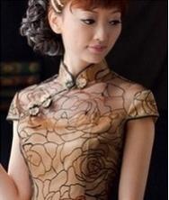 巧之韵 进口蕾丝复古旗袍裙 时尚改良短款旗袍
