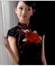 巧之韵 真丝丝绒.女人花 新款中式日常旗袍 改良复古旗袍裙