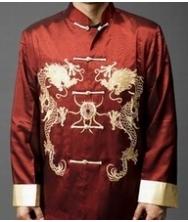 巧之韵 豪华织锦 男士民族风唐装外套 中国风改良中式男装春装上衣枣红