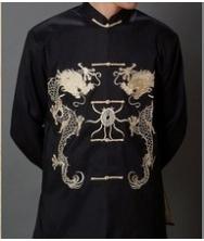 巧之韵 豪华织锦 男士民族风唐装外套 中国风改良中式男装春装上衣黑色