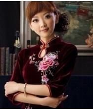 巧之韵丝绒秋季长袖旗袍 时尚改良复古秋装旗袍
