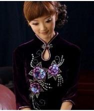 巧之韵  丝绒秋季长袖旗袍紫色 时尚改良复古旗袍