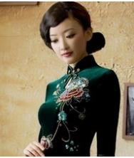 巧之韵 绿满枝 秋装新款丝绒短款中长袖改良复古旗袍