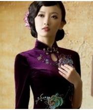 巧之韵 绿满枝(紫色) 秋装新款丝绒短款中长袖改良复古旗袍