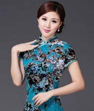 名流旗袍 巧之韵 满满.中式新古典真丝绒时尚旗袍 时尚改良复古短袖真丝绒日常短款旗袍裙