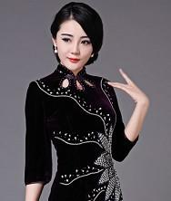 巧之韵 印象..中式新古典真丝空花容时尚传统短旗袍