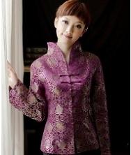 巧之韵 蓉锦春紫色 真丝织锦缎改良唐装外套 长袖女士唐装 中式上衣女装 民族风礼服女装外套