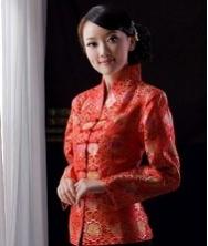 巧之韵 蓉锦春 红色 真丝织锦缎改良唐装外套 长袖女士唐装 中式上衣女装 民族风礼服女装外套