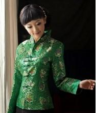 巧之韵 蓉锦春 绿色 真丝织锦缎改良唐装外套 长袖女士唐装 中式上衣女装 民族风礼服女装外套