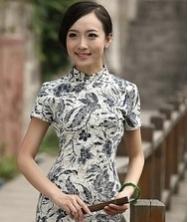巧之韵 珍珠扣 中式新古典青花棉麻短袖小旗袍