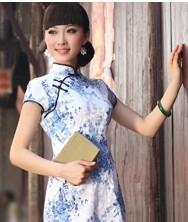 巧之韵 青花瓷 文艺清新棉麻旗袍裙 时尚短款旗袍 修身短袖圆襟短款旗袍