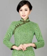 巧之韵 绿杨堤畔 中式复古长袖旗袍 新款高档正品羊毛呢旗袍