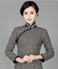 巧之韵 物语云诺 中式新古典毛呢长袖旗袍 复古新款传统真襟旗袍