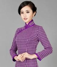 巧之韵 紫尘 中式新古典毛呢长袖旗袍 紫罗兰改良长袖复古新款旗袍