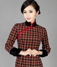巧之韵 颦颦梨妆 羊绒羊毛改良长袖复古新款格子旗袍