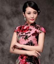 巧之韵 雪花秘扇.中式新古典旗袍 时尚真丝空花绒旗袍