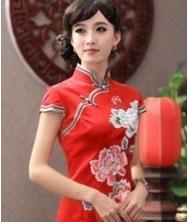 巧之韵 问镜 新款复古优雅重磅真丝旗袍 婚礼绣花旗袍