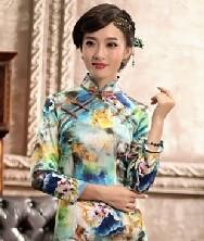 巧之韵 瓷心 新款 九分袖喷绘真丝旗袍