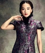 巧之韵 旧香闺 中式新古典兔毛真丝织锦夹棉旗袍 短款短袖原创改良旗袍裙