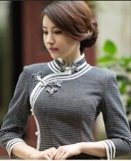 名流新款秋冬长款旗袍 三边长袖改良日常羊毛呢修身旗袍