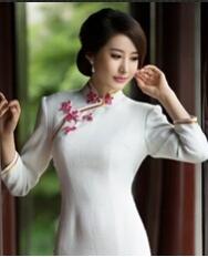 名流旗袍 新款秋冬装长袖旗袍裙 复古全开襟日常白色羊毛呢修身旗袍