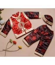 巧之韵 中国特色儿童唐装*秋冬季男孩三件套长袖套装 公子棉服棉袄黑红
