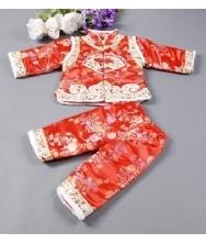 巧之韵 儿童唐装红色 女童宝宝唐装  礼服唐装 两件套生日童装冬装