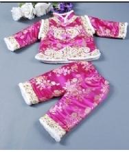 儿童唐装玫红 女童宝宝唐装 礼服唐装 两件套生日童装冬装